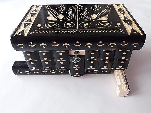 Caja puzzle nuevo grande negro caja de joyas talladas caja mágica ...