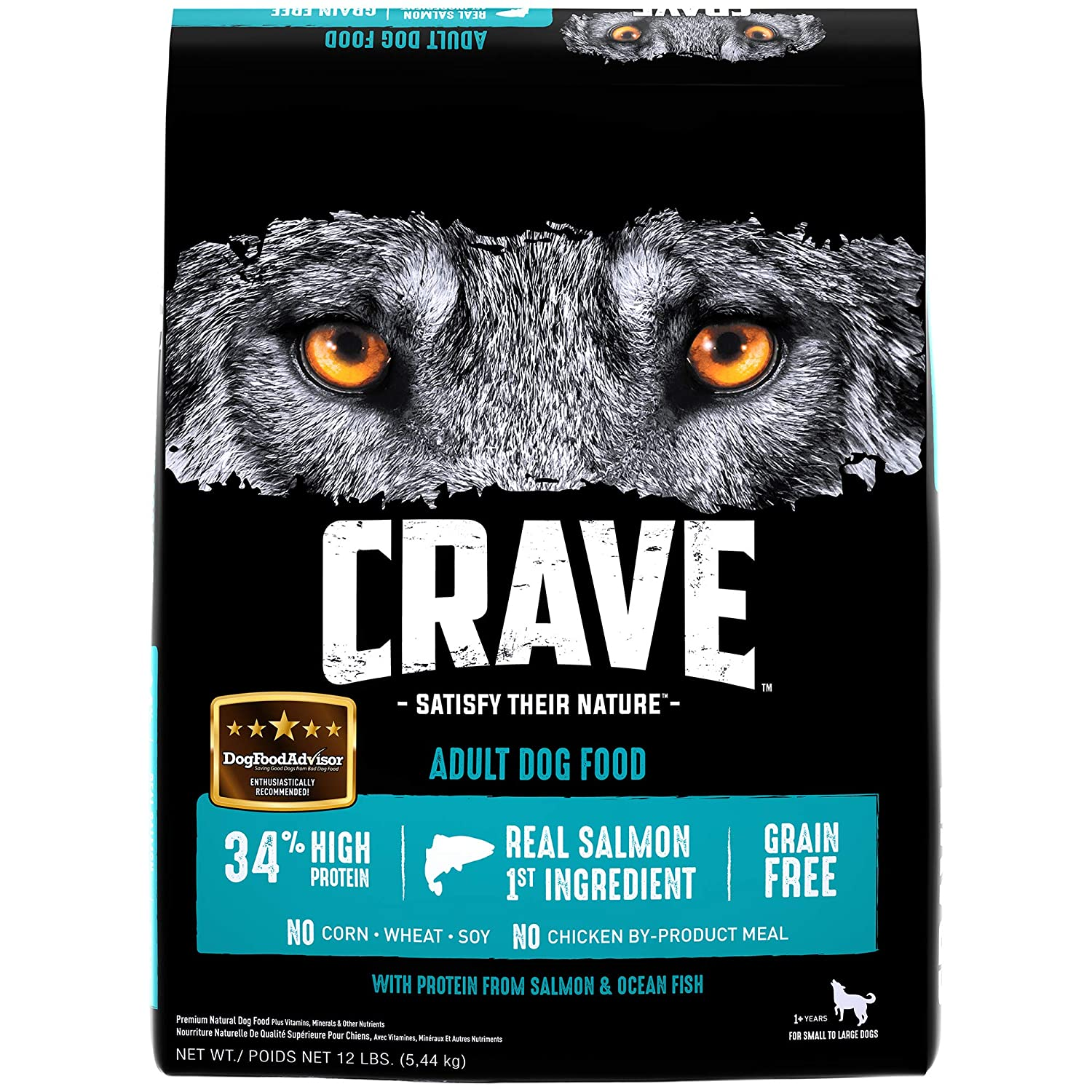 4. Crave Grain-Free, High-Protein Adult Dry Dog Food, Salmon