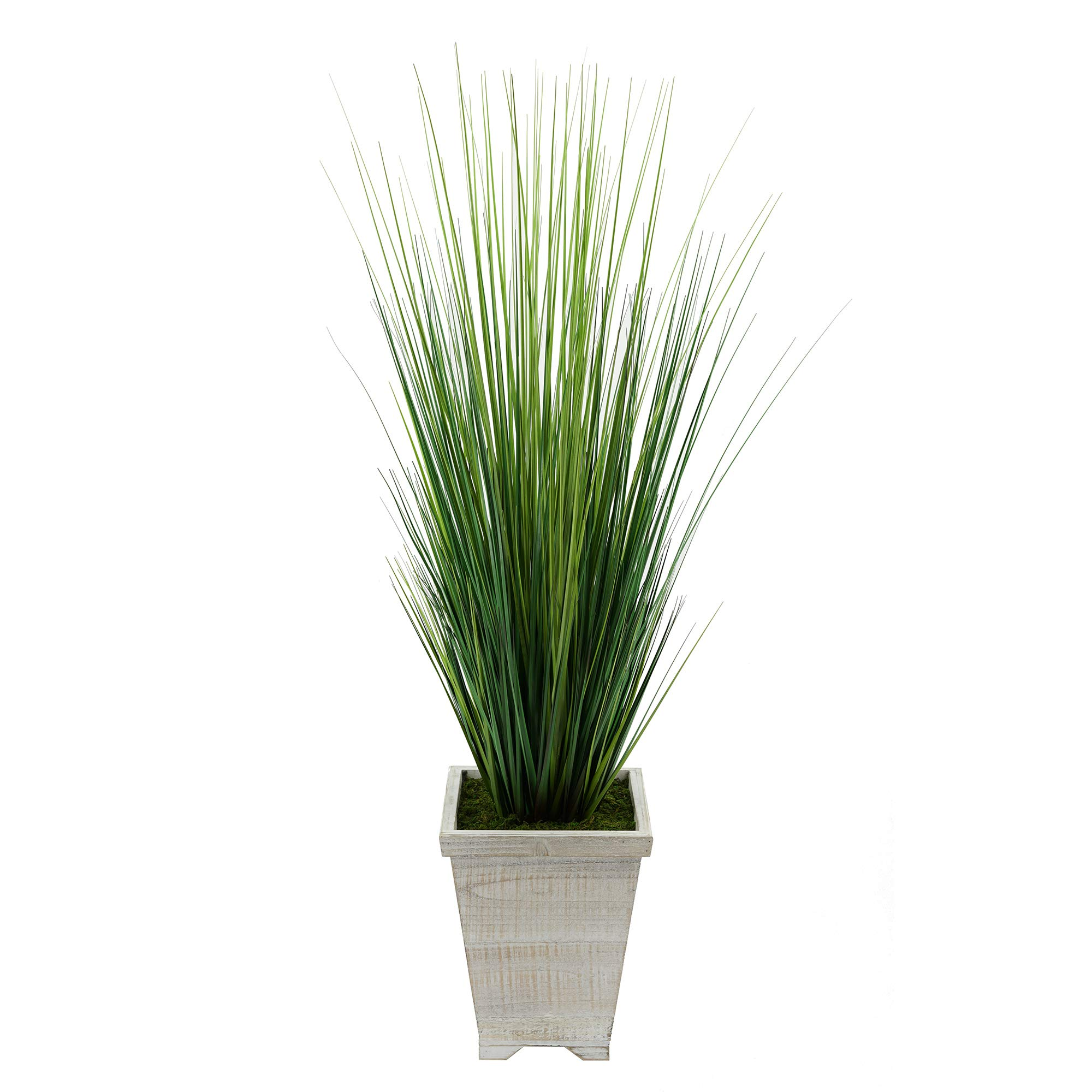 House-of-Silk-Flowers-Artificial-4ft-PVC-Grass-in-Washed-Wood-Planter-White-Washed