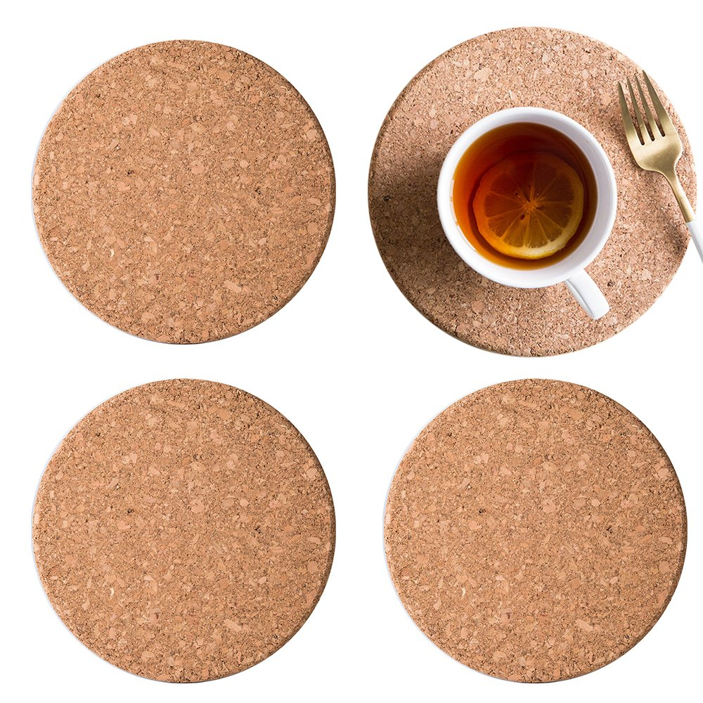 LUCKSTAR Cork Hot Pads - 4 PCS Round Cork Trivets Heat Resistant Hot Pads Table Cup Mat Coaster Kitchen Hot Pads Pack Restaurant Cafe Supplies (15 cm/5.9 Inch)