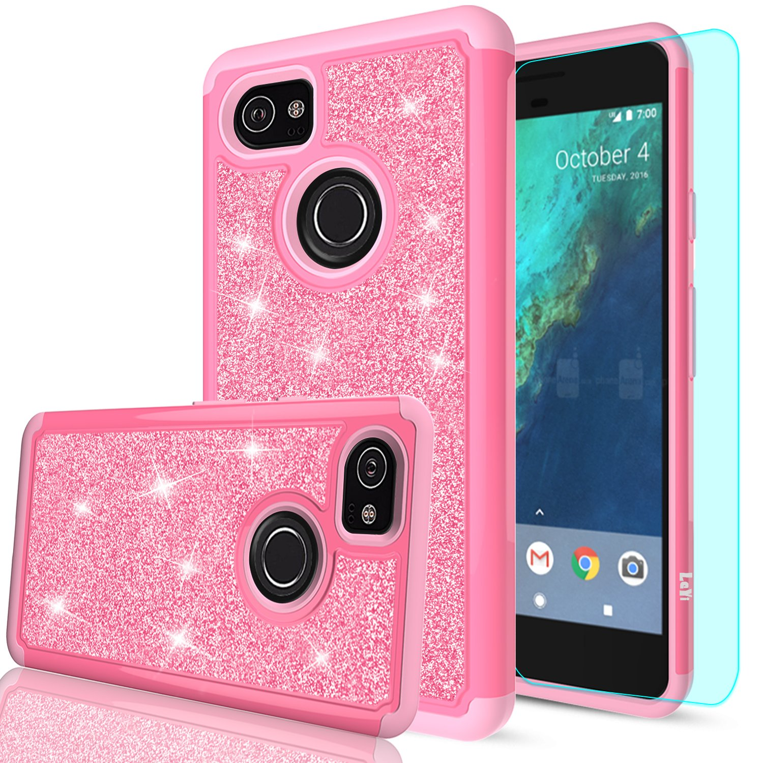 Google Pixel 2 XL Case with Tempered Glass Screen Protector [2 Pack], LeYi Hybrid Heavy Duty Protection Cute Girls Women Shockproof Glitter Bling Phone Case for Google Pixel XL 2 (2017) TP Rose Gold 4334952832