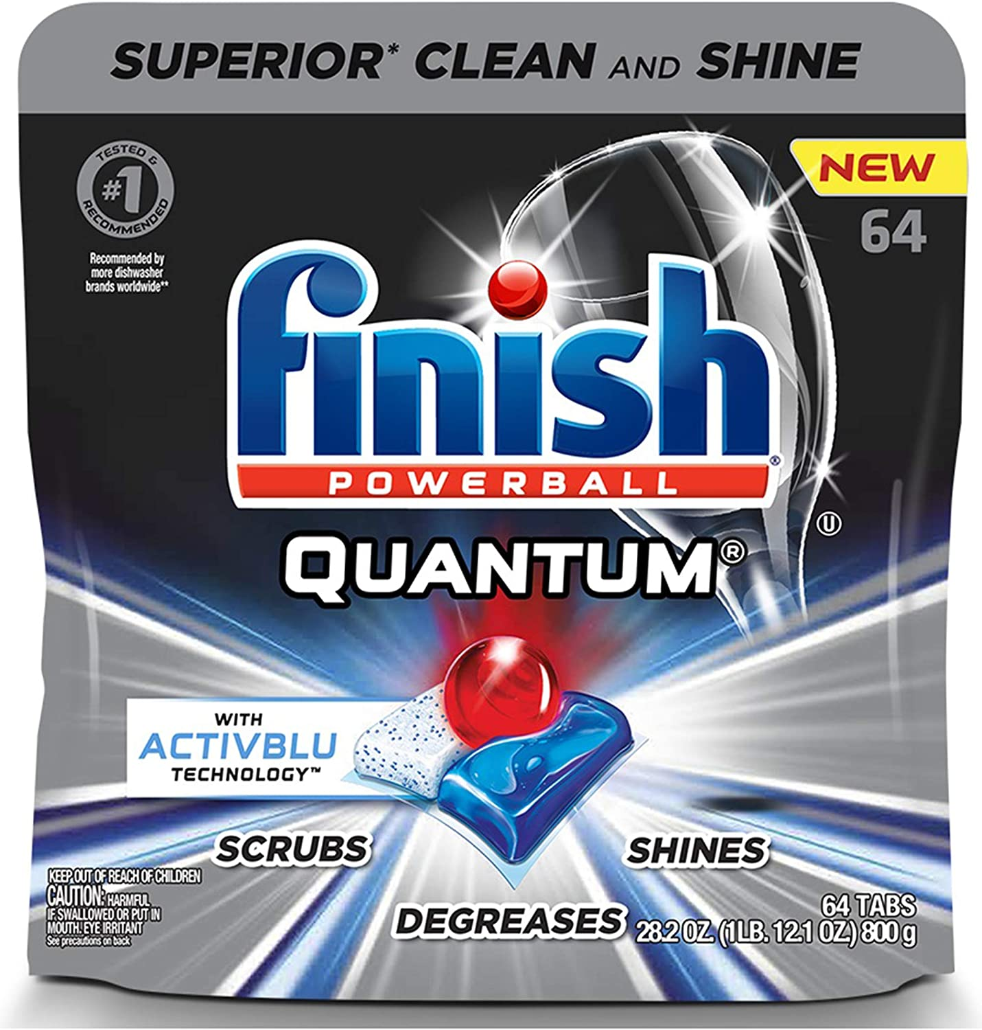 Finish - Quantum with Activblu Technology - 64ct - Dishwasher Detergent - Powerball - Ultimate Clean and Shine - Dishwashing Tablets - Dish Tabs