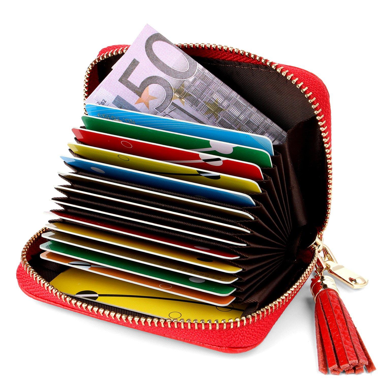 Porte Cartes de Crédit Femme Cuir Fermeture Eclair RFID (Bleu#2)