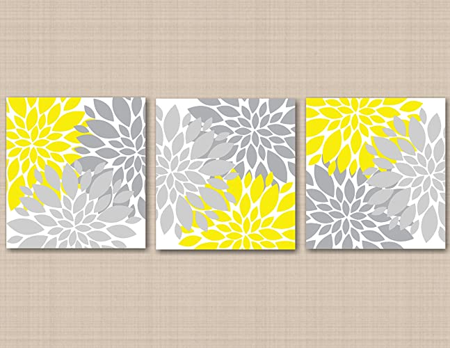 Amazon.com: Yellow Gray Floral Wall Art Yellow Gray Bedroom Décor ...