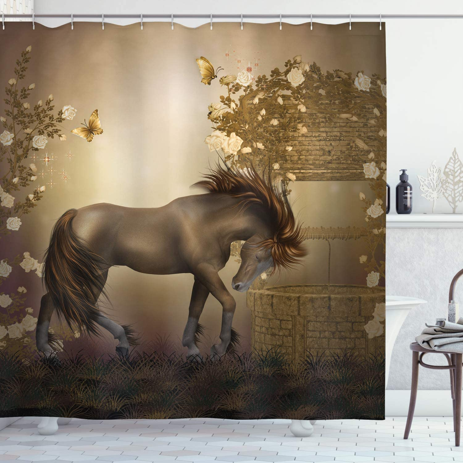 "Ambesonne Mystic Shower Curtain, Horse in Roses Garden with Butterflies Fantasy Romantic Moon Print, Cloth Fabric Bathroom Decor Set with Hooks, 70"" Long, Beige Brown"