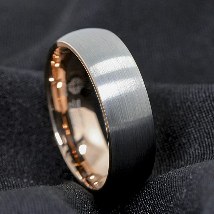 d8ccd2d17cd ATOP 8mm Comfort Fit Tungsten Carbide Ring Silver Brushed Rose Gold Inlay Wedding  Band Men s Jewelry