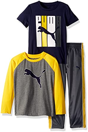 b2ce4e42e098 Amazon.com  PUMA Boys  Three Piece T-Shirt and Pant Set  Clothing