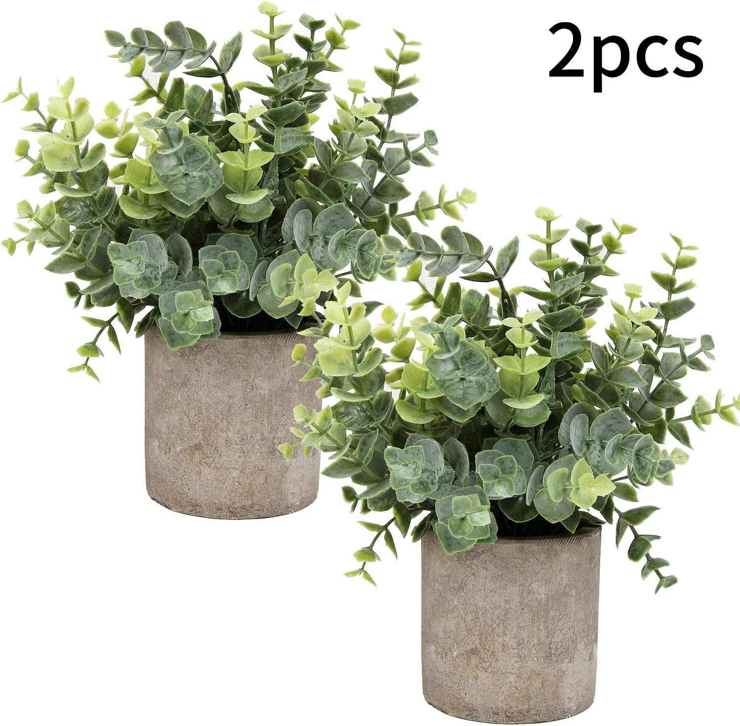 "Flojery Mini Potted Plants Artificial Eucalyptus Boxwood Rosemary Greenery in Pots Faux Potted Herbs Small House Plants 8.3""-9"" Tall for Indoor Greenery Tabletop Décor Centerpiece (Sprayed Eucalyptus)"