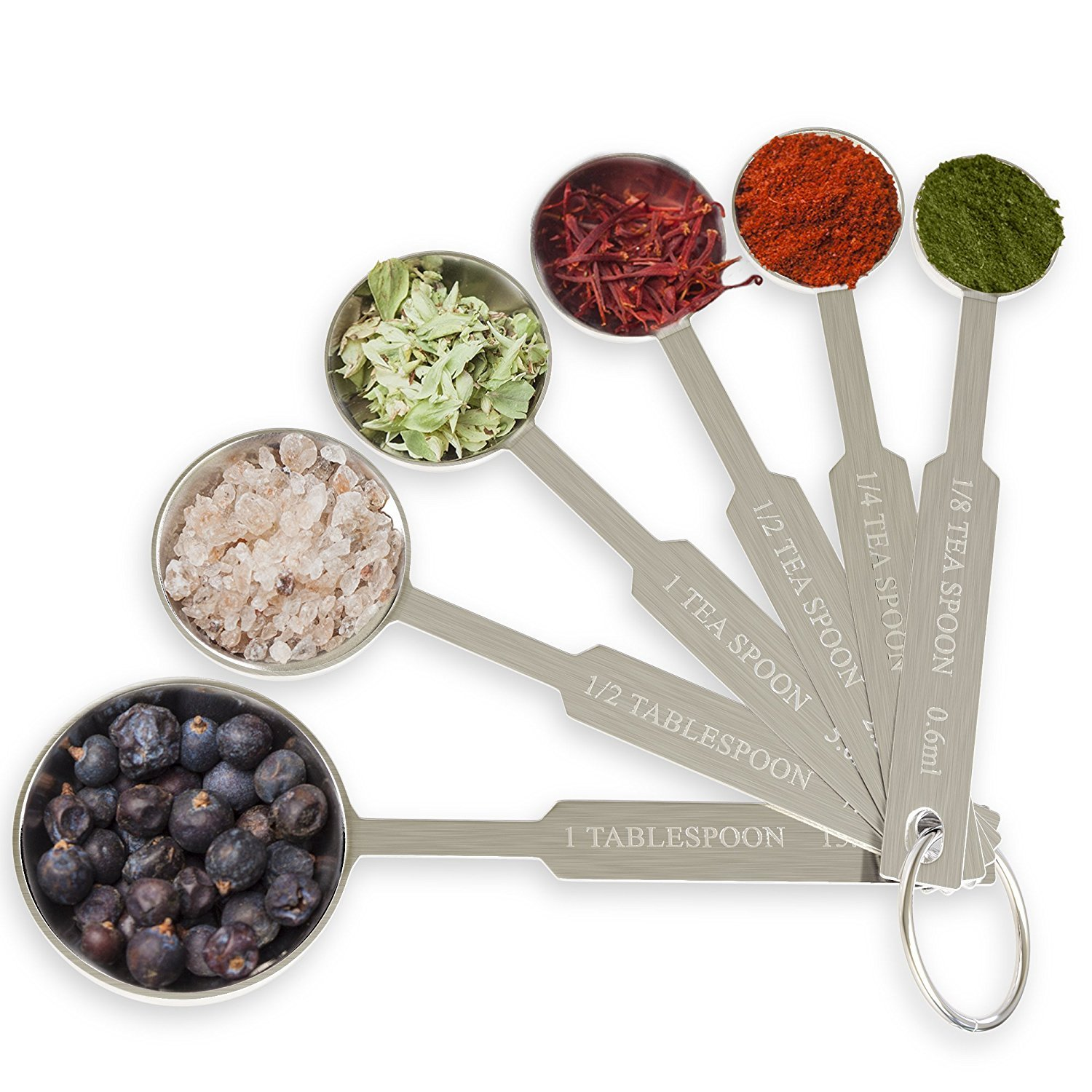 [2-Pack] Royal Measuring Spoons Set - Stainless Steel Baking Spoon for Dry and Liquid Ingredients - Detachable Ring Holder - 6 Measurements by Royal