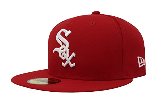 New Era 59Fifty Hat Chicago White Sox MLB Scarlet Red Fitted Headwear Cap  (6 7 1cc8ce227666