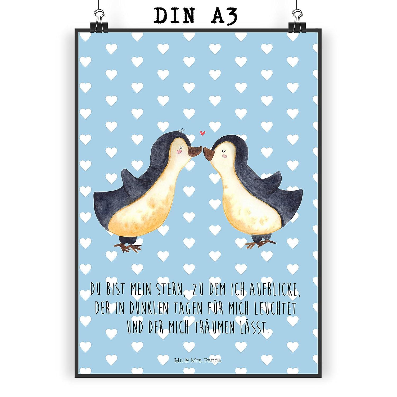 Farbe Blau Pastell Panda Poster gro/ß Mr Wanddeko Poster DIN A0 Pinguin Liebe mit Spruch /& Mrs