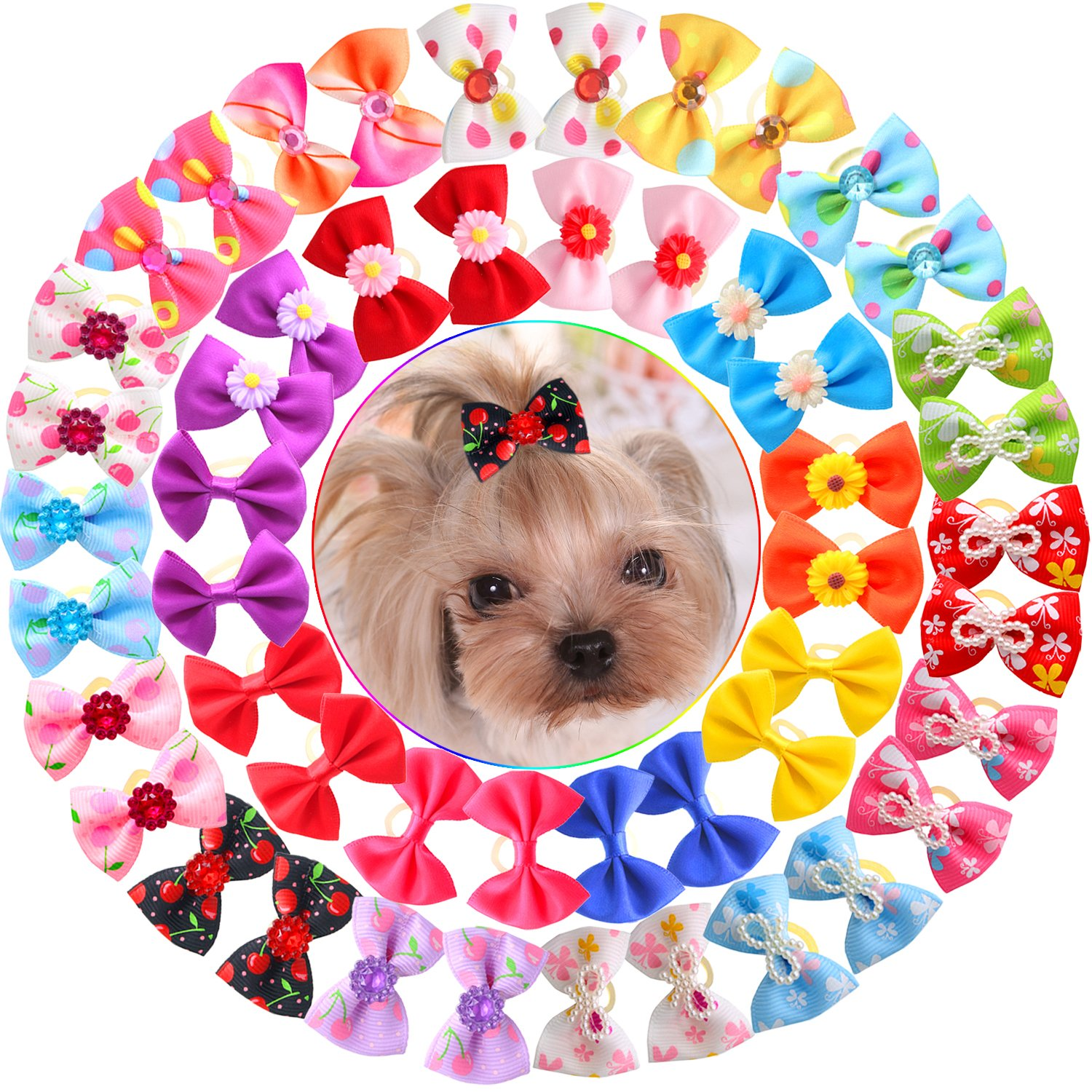 YOY 50pcs/25 Pairs Adorable Grosgrain Ribbon Pet Dog Hair Bows with Rubber Bands - Puppy Topknot Cat Kitty Doggy Grooming Hair Accessories Bow knots Headdress Flowers Set for Groomer by YOY (Image #2)