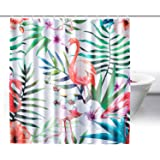 ZeWoo Cortina De Ducha, Impresión 3D Cortinas Baño , Impermeable Resistente al Moho Cortina de Ducha con 12 Anillos (180*180cm) (flamencos 3)