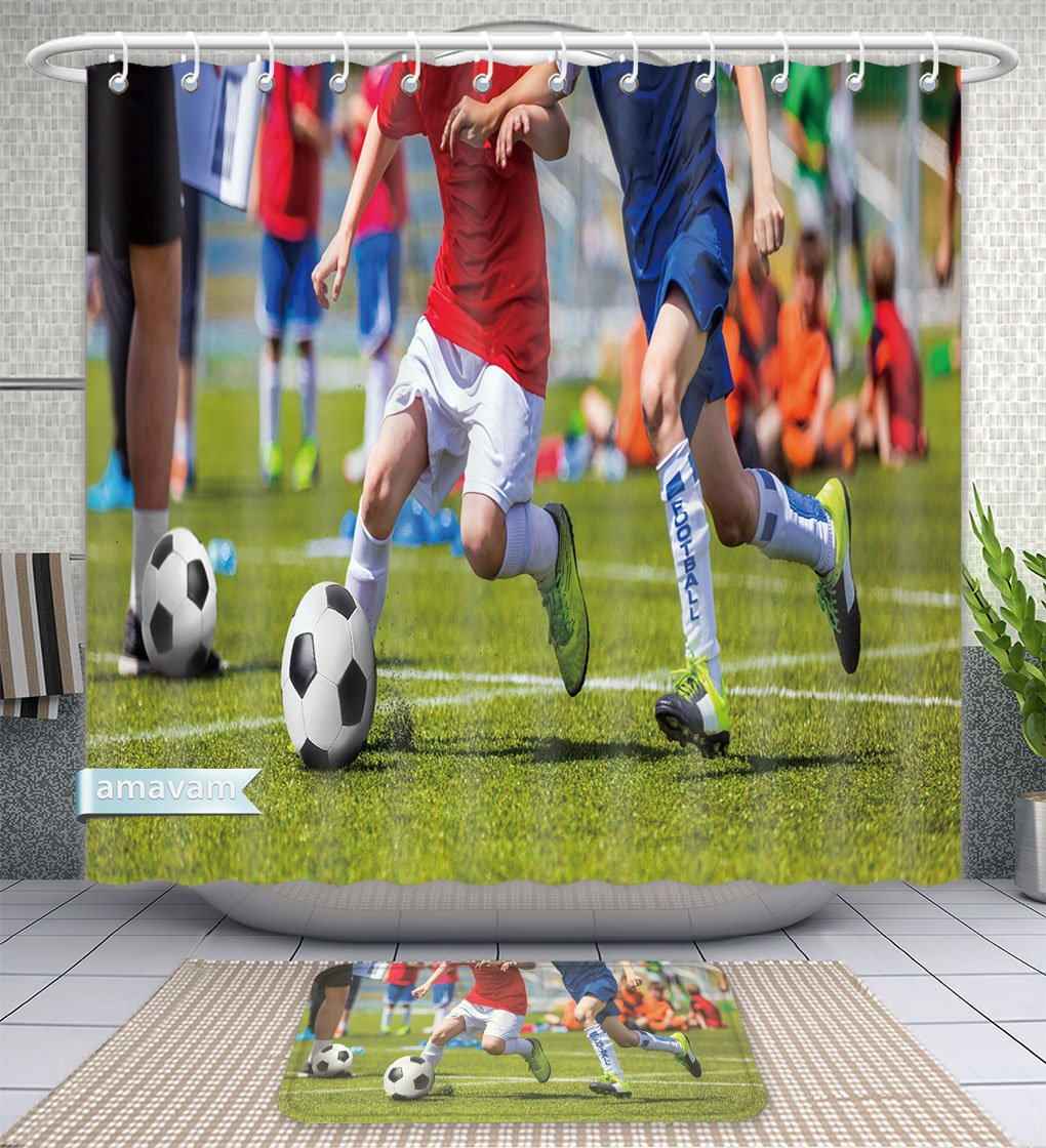 Amavam Bathroom 2-Piece Suit Football Soccer Match For Children Kids Playing Soccer Game Tournament Boys Running And Kicking Shower Curtains And Bath Mats Set, 71'' Wx71 H & 31'' Wx20 H