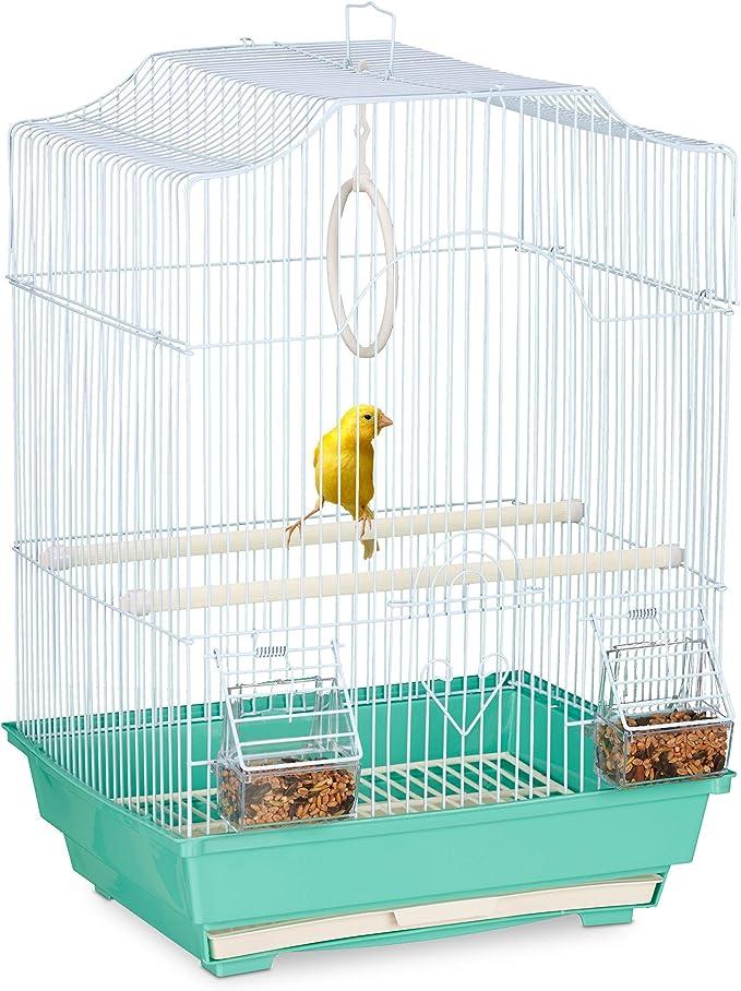 Relaxdays Jaula para pájaros pequeña Canaria, Percha y comedero, 49,5 x 35 x 32 cm, Color Azul Claro y Verde Menta