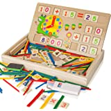 Educational Wooden Toy, Kids Number Time Counting Drawing Learning Toy with Doodle Board Chalk Eraser, Learning Toy for 3+ Ye