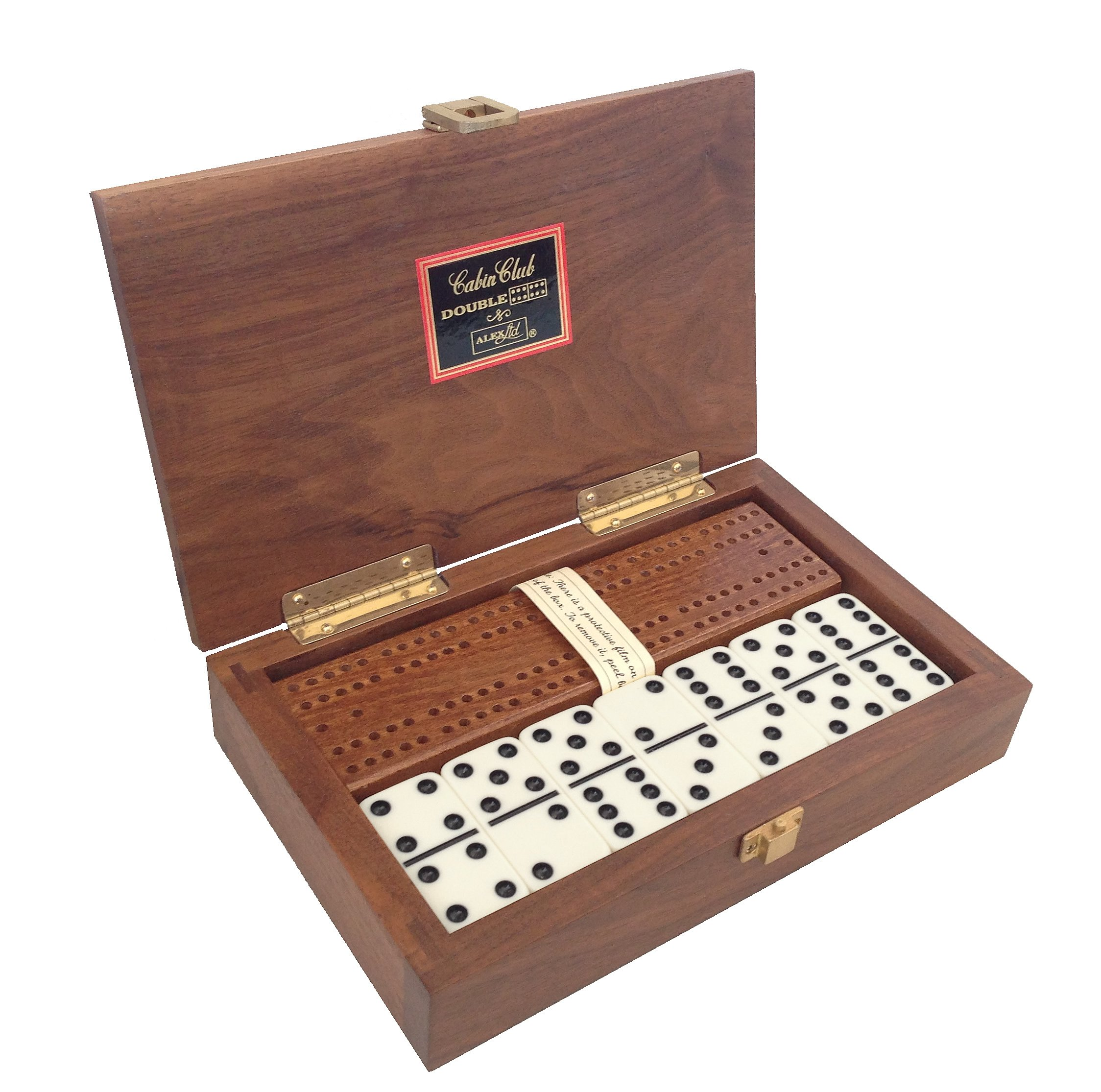 ''Cabin Club'' Classic Domino Set with Black Walnut Case - Premium Quality 28 Indestructible Double-Six Dominoes