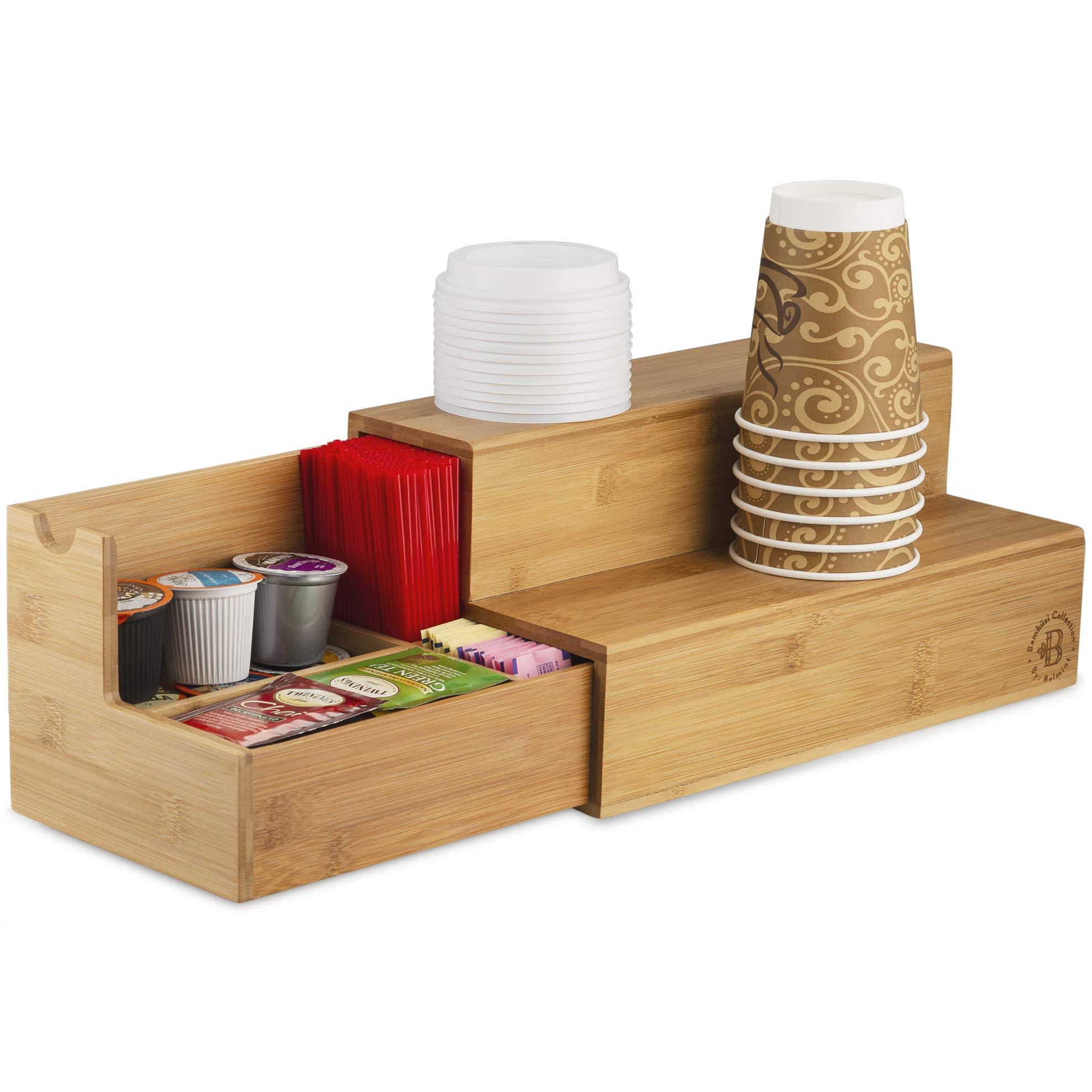 Coffee Tea Organizer Station - Bamboo Condiment and Accessories Caddy Organizer | for Kitchen and Office Organization by Bambüsi (Image #1)