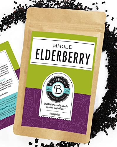 Birds Bees Teas - Organic Elderberries Dried 1 lb Bulk, Makes Great Black Elderberry Tea and Sambucus Nigra is Known for It's Immune System Booster Properties as Syrup, Popsicles, and Gummies