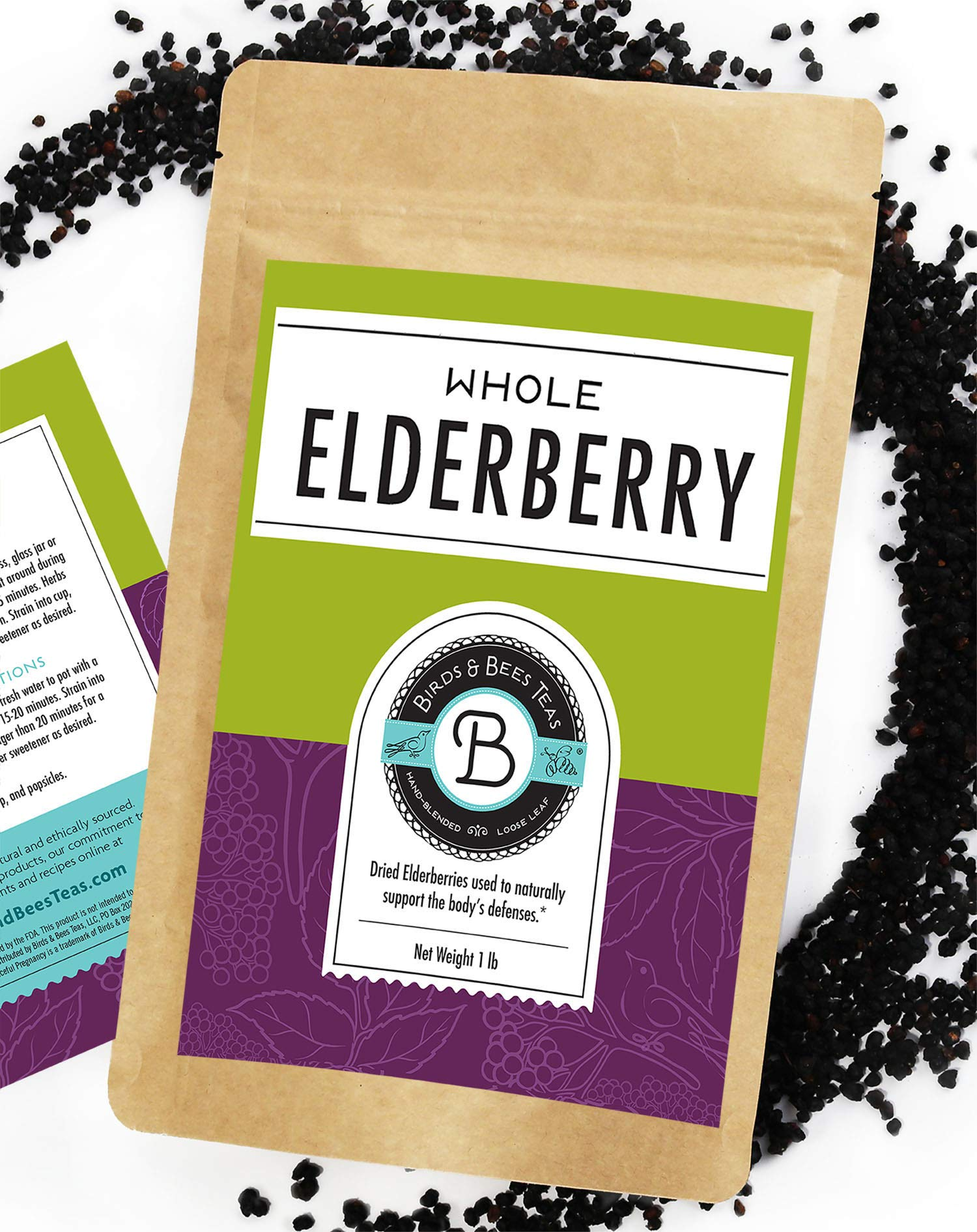 Elderberries Dried Organic 1 lb Bulk - Makes Great Elderberry Tea - Sambucus Nigra is Known for It's Immune System Booster Properties