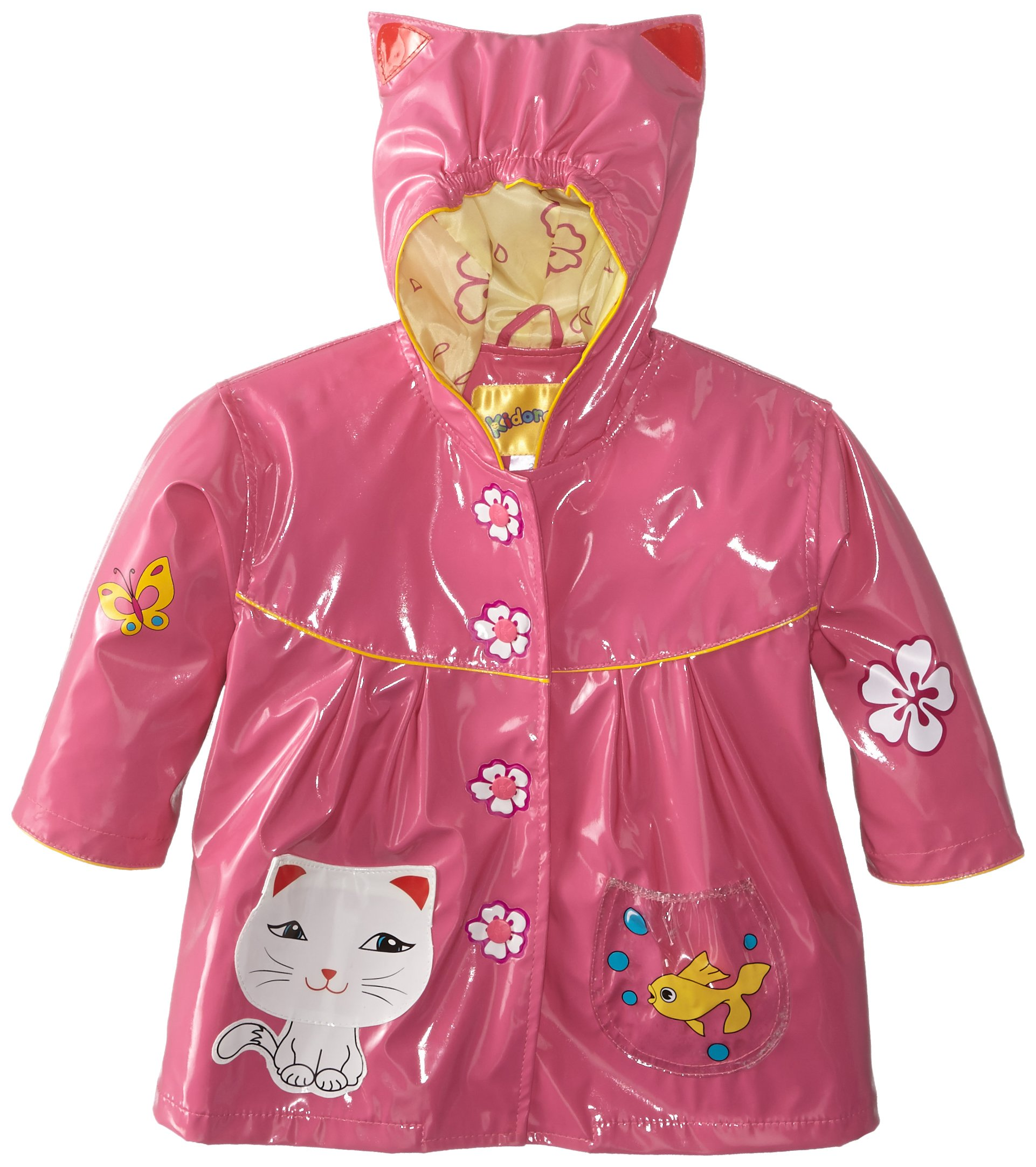 Kidorable Girls' Little Lucky Cat All Weather Waterproof Coat, Pink, 4/5 by Kidorable