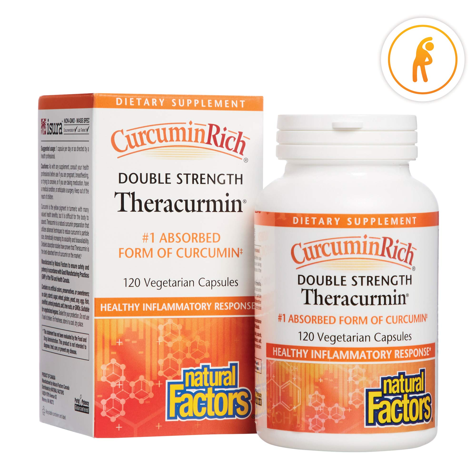 CurcuminRich Double Strength Theracurmin by Natural Factors, Supports Natural Inflammatory Response, Joint and Heart Function, 120 Capsules (120 Servings) by Natural Factors