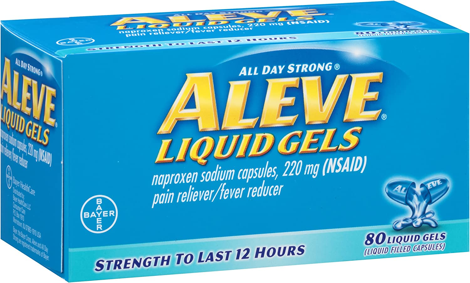 Aleve Liquid Gels with Naproxen Sodium, 220mg (NSAID) Pain Reliever/Fever Reducer, 80 Liquid gels: Health & Personal Care