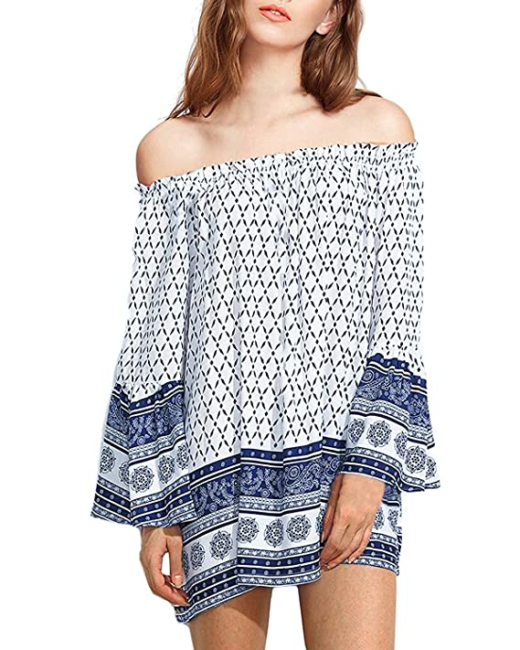 ZANZEA Women's Off the Shoulder Flare Bell Sleeve Floral Printed Elegant Blouse Tee Tops Navy L