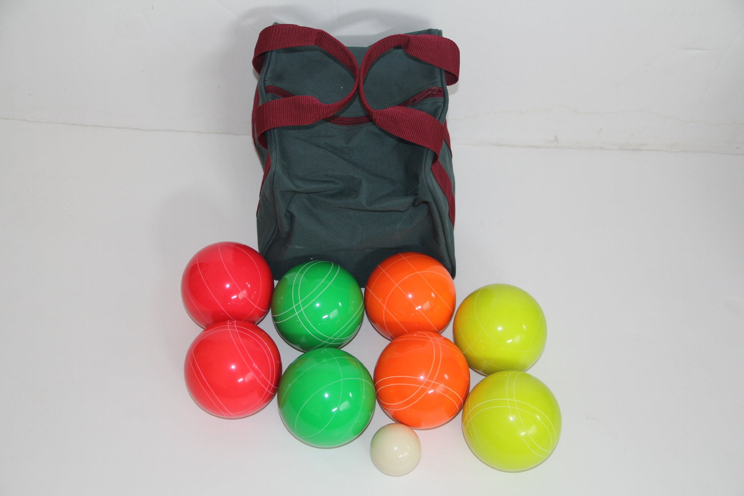 Premium Quality EPCO GLO Tournament Set with Stripes - 110mm Green, Red, Yellow, Orange Bocce Balls [Toy] by Epco