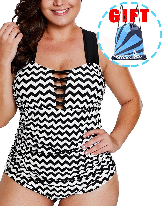 Garlagy Women's One Piece Swimsuits Plus Size Monokinis Swimwear Athletic Tankini Bathing Suit Bikini ((US 20-22) XXXL, A-Black White Zigzag)