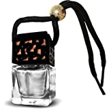 Black Aromatherapy Car Diffuser Necklace for Essential Oils and Fragrances, Natural Air Freshener, Beautiful Glass Design. No Batteries, USB or Electricity Needed