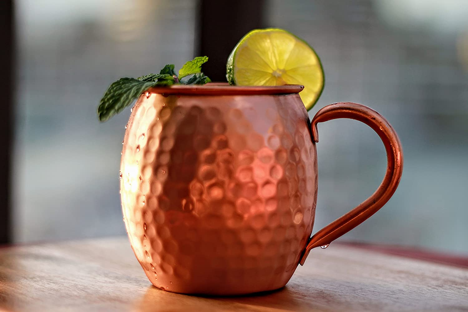 100/% Pure Solid Copper Mug 16 Ounce Unlined Hammered Copper Cup with Over 20 Moscow Mule Recipes Mint Meets Ginger Moscow Mule Copper Mug