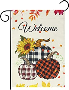 "Welcome Fall Garden Flag, Autumn Buffalo Check Pumpkins Fall Flag with Fall Leaves Sunflowers Vertical Burlap Double Sided for Outdoor Rustic Farmhouse Yard Thanksgiving Decoration (12.5"" x 18"")"