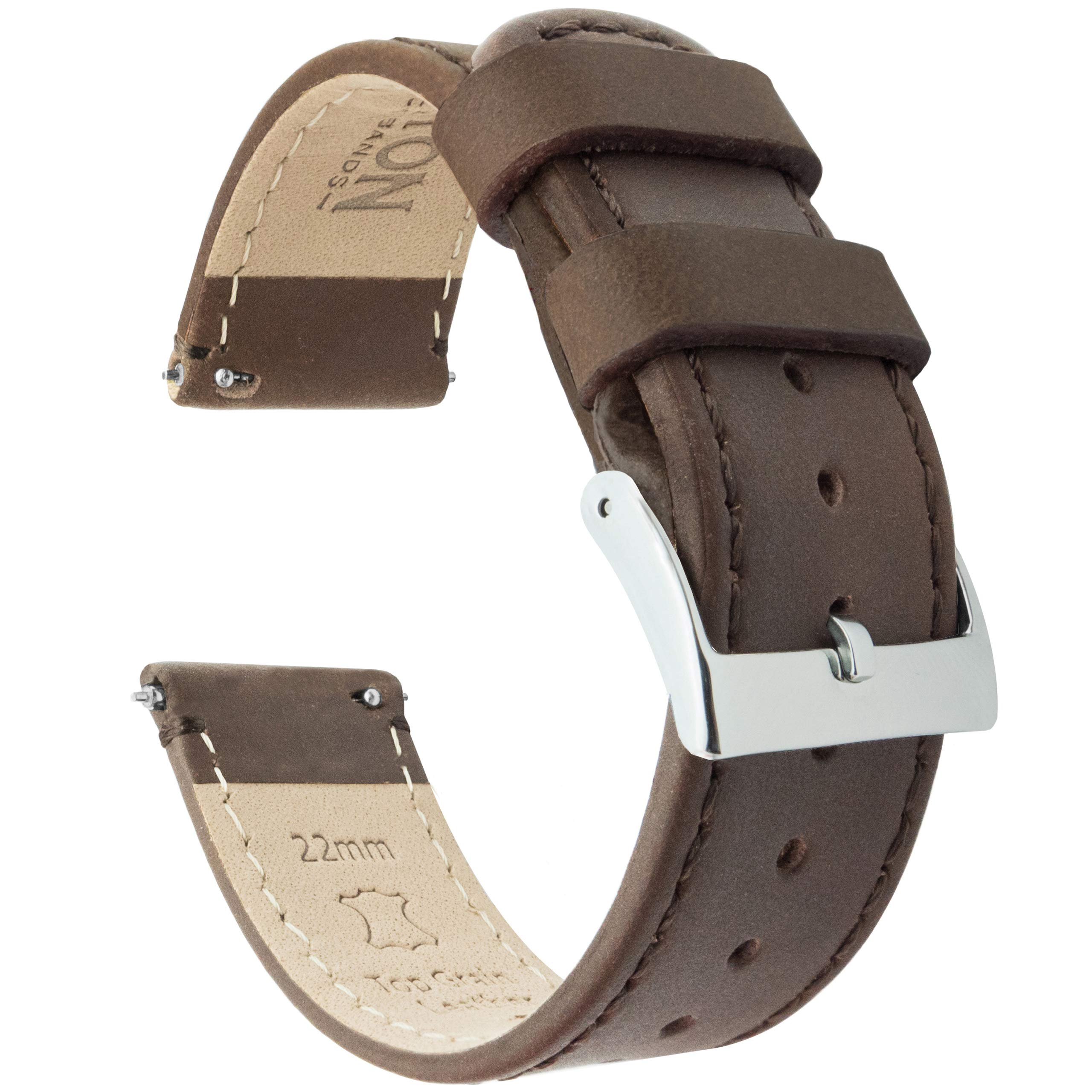 20mm Saddle Brown - Standard Length - Barton Quick Release - Top Grain Leather Watch Band Strap by Barton Watch Bands