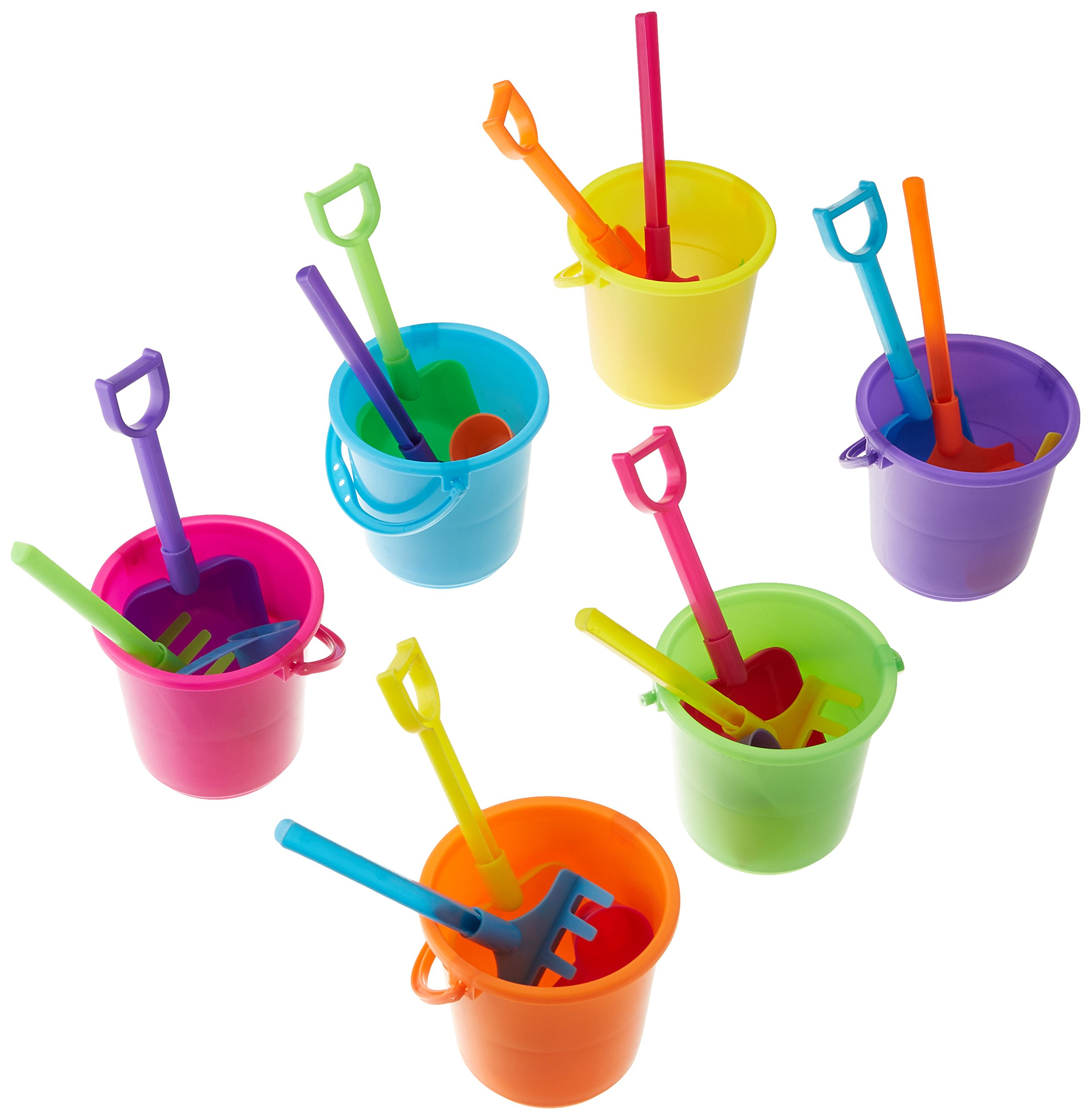 Fun Express Colorful Mini Beach Playsets- 12 Buckets, Shovels, Rakes, and Scoops