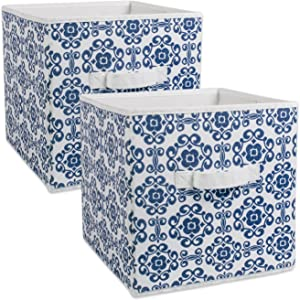 DII Foldable Fabric Storage Bins for Nursery, Offices, Home, Containers are Made to Fit Standard Cube Organizers, Nautical Blue, Small