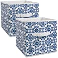 """DII Foldable Fabric Storage Containers for Nurseries, Offices, Closets, Home Décor, Cube Organizers & Everyday Storage Needs, (Large - 11 x 11 x 11"""") Scroll Nautical Blue - Set of 2"""
