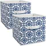 "DII Fabric Storage Bins for Nursery, Offices, & Home Organization, Containers Are Made To Fit Standard Cube Organizers (11x11x11"") Scroll Nautical Blue - Set of 2"