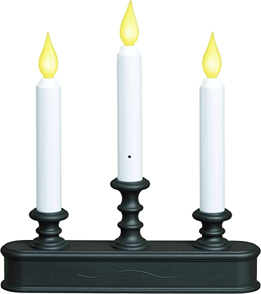 Battery Operated LED Dusk to Dawn 9 inch Window Candle with Amber Flicker Flame