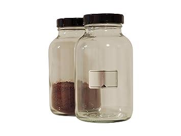 Viva-Haushaltswaren - 2 5 frascos 1000 ml./5 botellas vasos farmacia en cristal transparente, incluye etiquetas: Amazon.es: Hogar