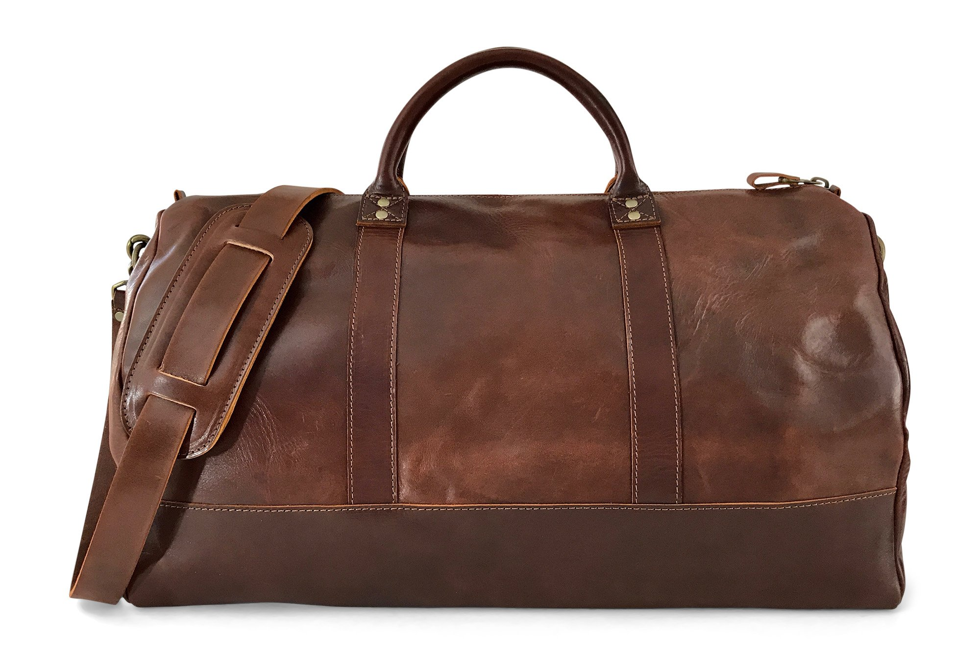 Vintage Full Grain Leather Duffle Bag & Weekend Carryall by Jackson Wayne (Vintage Brown) by Jackson Wayne (Image #1)