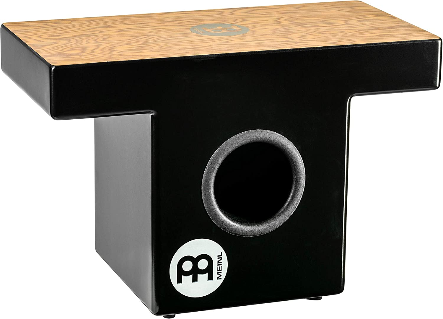 Meinl Slaptop Cajon Box Drum with Internal Snares and Forward Projecting Sound Ports - NOT MADE IN CHINA - Makah Burl Playing Surface, 2-YEAR WARRANTY (TOPCAJ1MB)