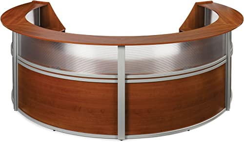 OFM Core Collection Marque Series 4-Unit Curved Reception Station with Plexi Panel Accent, in Cherry 55314-CHY