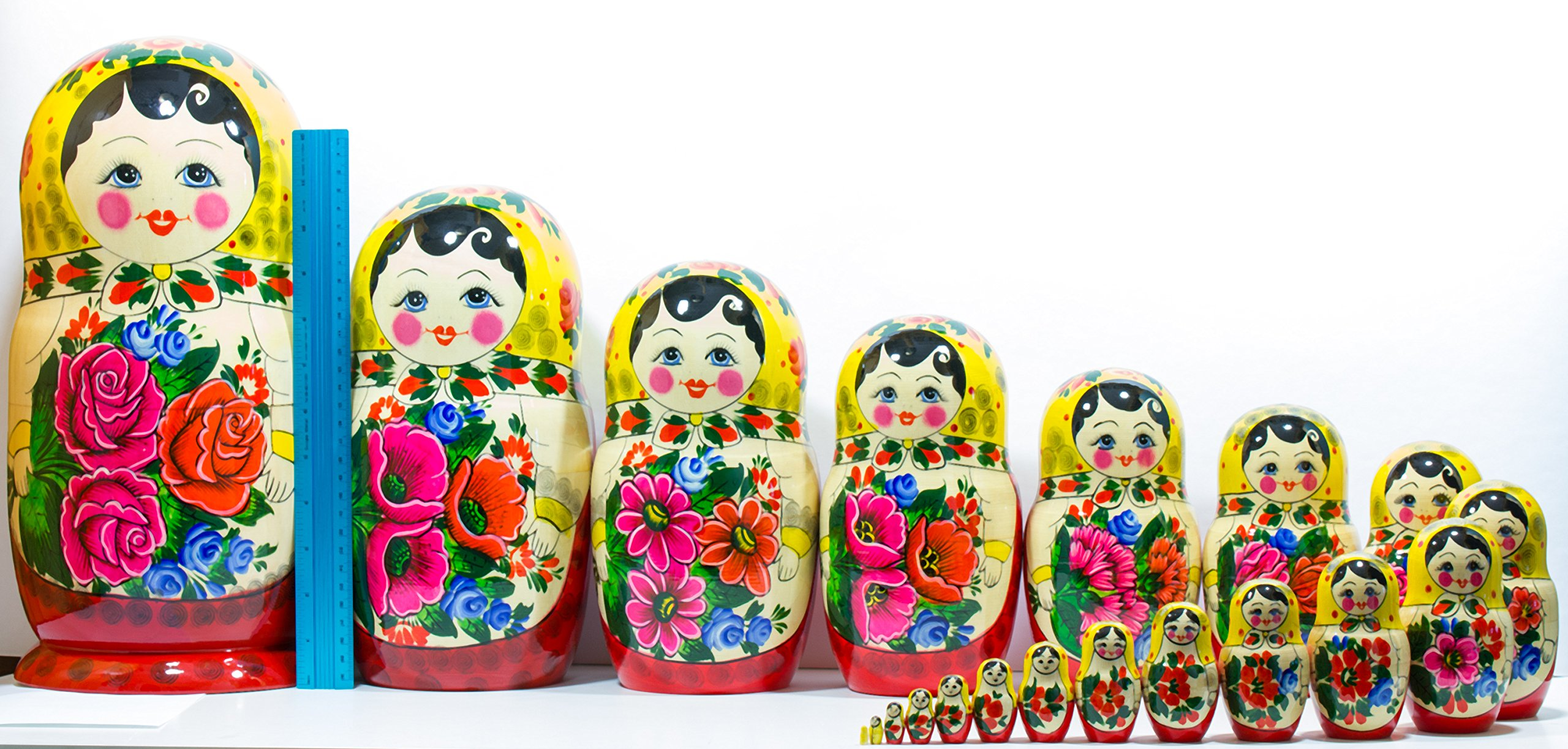 Russian Nesting Doll -Semenovo - Hand Painted in Russia - 6 Color|Size Variations - Wooden Decoration Gift Doll - Traditional Matryoshka Babushka (14``(20 Dolls in 1), Yellow - Red) by craftsfromrussia (Image #5)