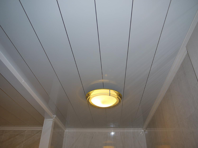 Bathroom ceiling cladding pvc panels - White Chrome Strip Bathroom Ceiling Panels 8 Pack White Metallic Decor Cladding Amazon Co Uk Kitchen Home