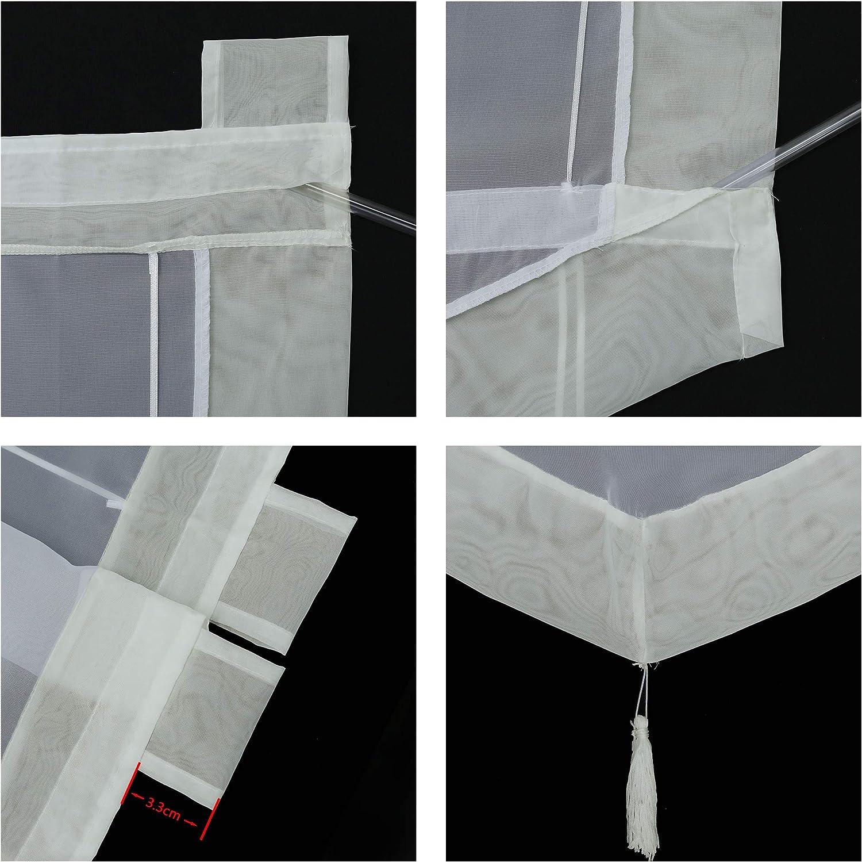 BxH 80x140cm Joyswahl Julia Store Romain en Voile avec Triangle Transparent et Cadre color/é pour fen/être avec Passants Gris Polyester