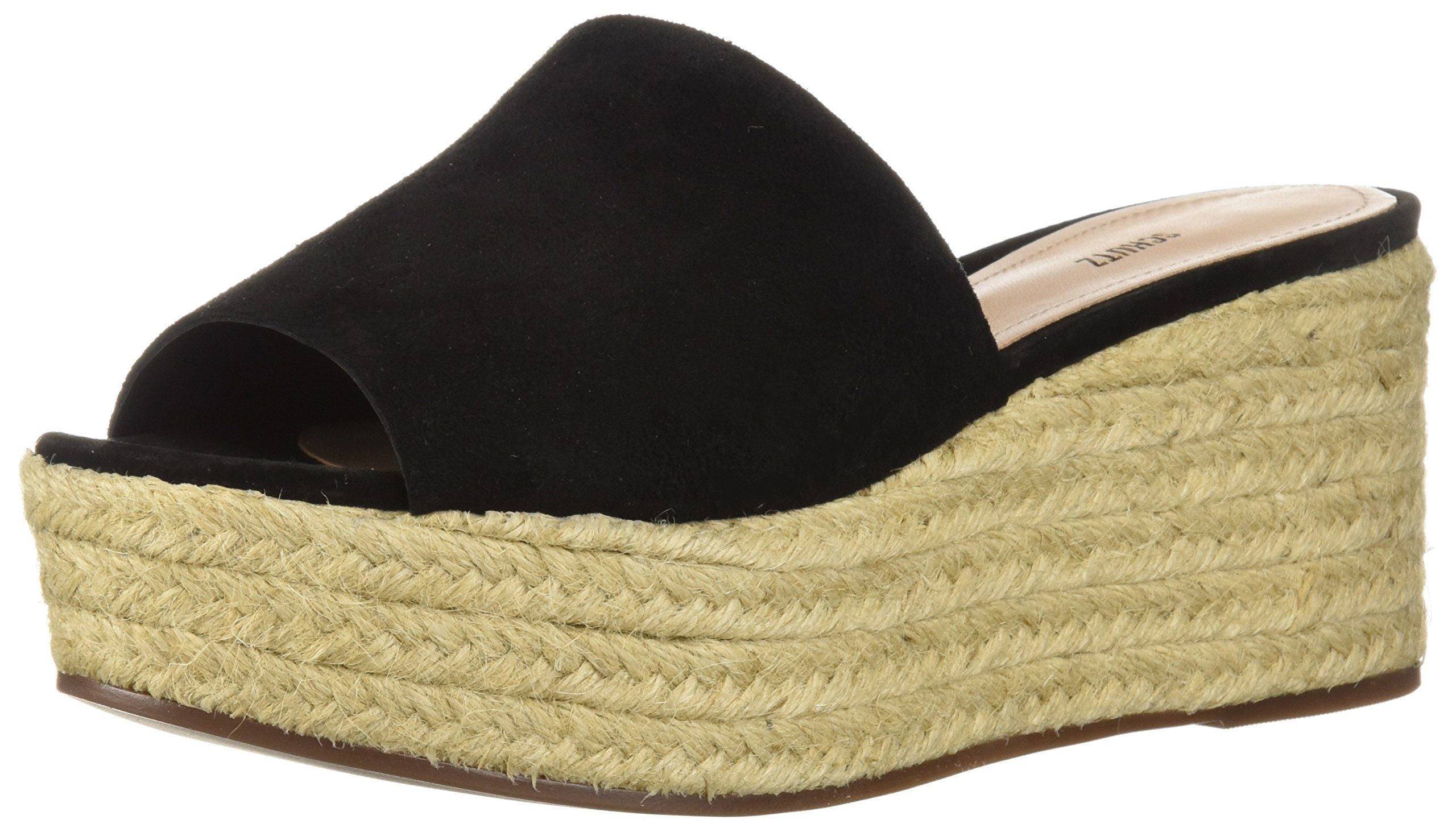 SCHUTZ Women's Thalia Espadrille Wedge Sandal, Black, 10 M US