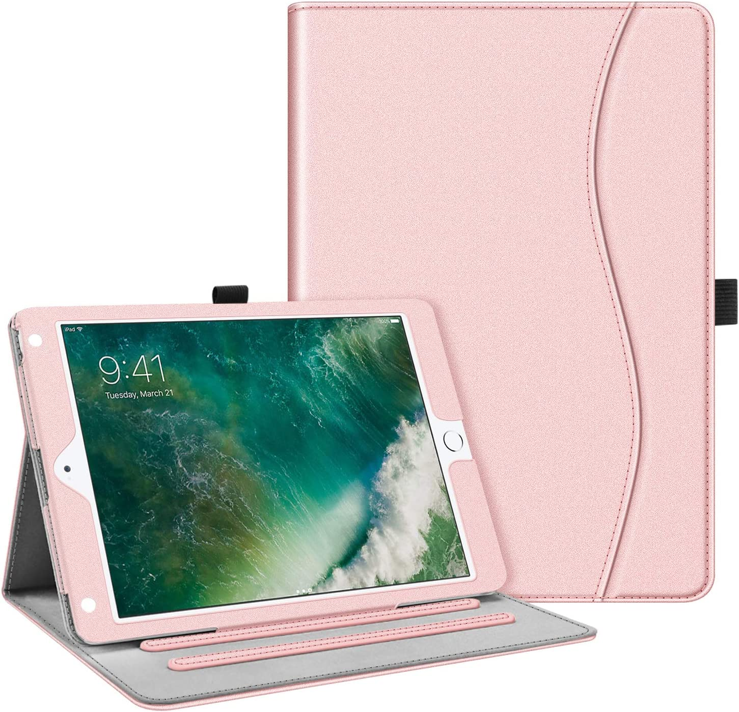 Fintie Case for iPad 9.7 2018 2017 / iPad Air 2 / iPad Air - [Corner Protection] Multi-Angle Viewing Folio Cover w/Pocket, Auto Wake/Sleep for iPad 6th / 5th Gen, iPad Air 1/2, Rose Gold