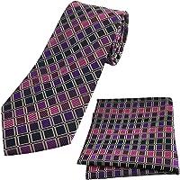 KOOELLE Fashion Checks Woven Jacquard Necktie for Men Classic Tie Set