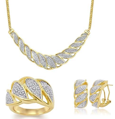 Amazon.com: 1/4 quilates joyería del diamante Leaf Overlay 3 ...